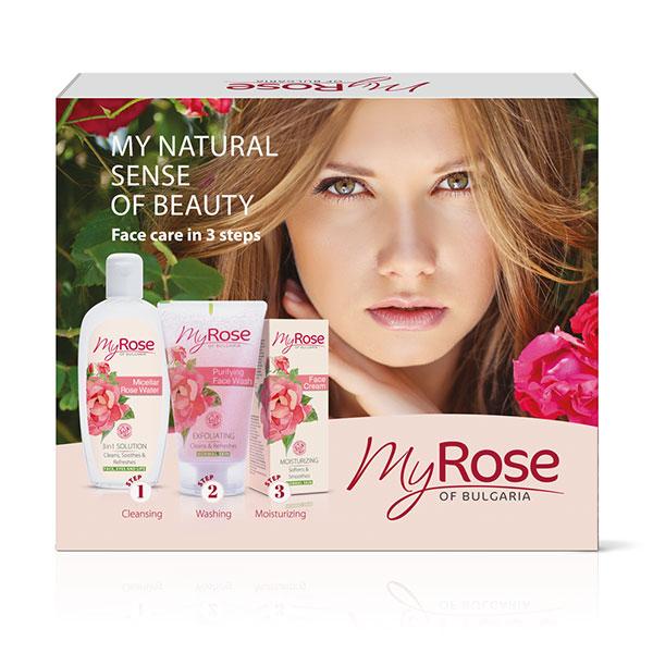 Подарочный набор (Мицеллярная  розовая вода + Очищающий гель для лица + Увлажняющий крем для лица)