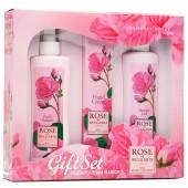 Подарочный набор Rose of Bulgaria № 3 (Лосьон для тела с помпой-дозатором 230мл, Гель для душа 230мл, Крем для рук 75мл)